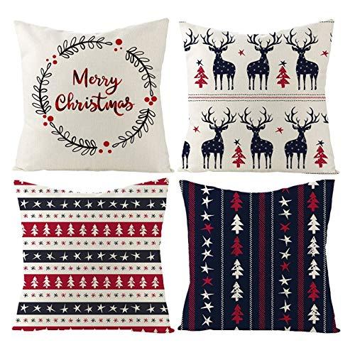 Beydodo Funda Cojines Navidad,4Piezas de Fundas de Cojin Fundas para Cojin 40X40,Árbol de Navidad Ciervos y Estrellas Merry Christmas Beige Rojo