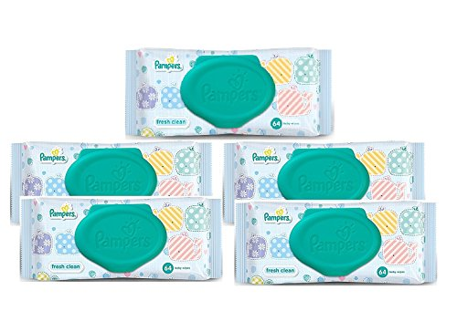 Pamper Fresh Clean Baby Wipes -Combo Pack of 5 Pieces (168 x 144 mm, Green)