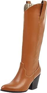ELEEMEE Women Classic Chunky Heel Mid Calf Boots