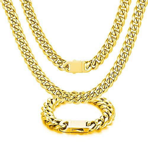 Collares Collares de eslabones de acero de titanio para hombre de 12 mm de ancho Miami Cuban Spring Broche Hip Hop Rock Jewelry-16inches necklace_Gold