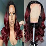 Echthaar Perücke Ombre Wig Red 1b99j 4x4 Lace Closure Wigs For Women Dark Red Glueless Wigs Body Wave Brazilian Remy Hair Wig With Natural Hairline Ombre Human Wig 20 Zoll