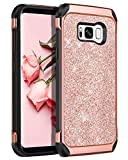 BENTOBEN Galaxy S8 Case, Phone Case Samsung S8, Slim Fit Dual Layer Shockproof Drop Protective Hybrid Hard PC Soft TPU Bumper Bling Glitters Girls Women Cover Phone Cases for Galaxy S8 5.8', Rose Gold