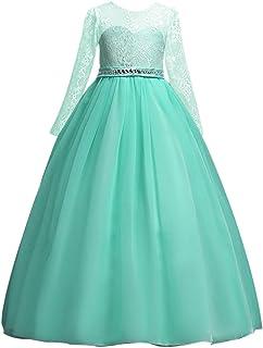 4850a8cb680 Vestido de niña de Flores para la Boda Princesa Largo Manga Vestidos de Dama  De Honor