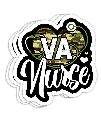 VA Nurse Camo Camouflage Stethoscope Heart Gift Decorations - 4x3 Vinyl Stickers, Laptop Decal, Water Bottle Sticker (Set of 3)