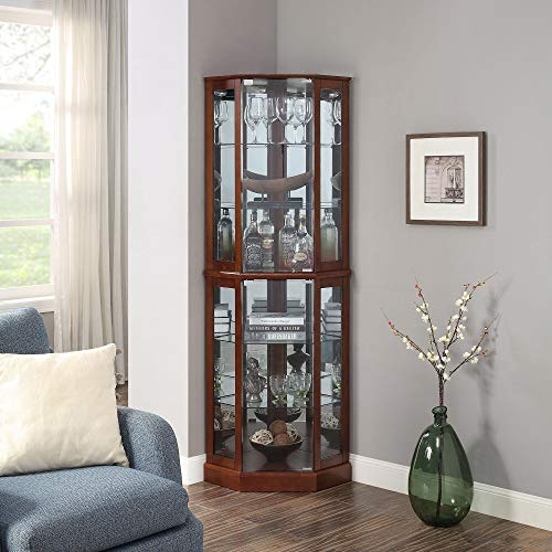 BELLEZE Ashfield Lighted Wood Glass Curio Corner Cabinet Floor Standing, Walnut
