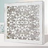 Fabricada artesanalmente en Espa/ña Mandala 3D Modelo Mosaico 224 Cuadro Mandala de Pared Calada Pintada a Mano Blanco Envejecido, 30x30ccm