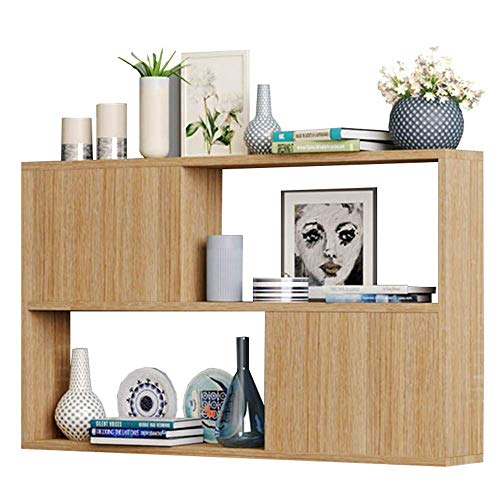 YLCJ boekenkast wandplank van massief hout, vak met deur, slaapkamerkast, nachtkastje, 4 kleuren, L80 * B20 * H65cm (kleur: B)