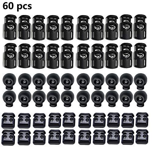60 Stück Kordelstopper Schwarz Gummi, Kordelklemme für Seile Endfeder Toggle Stopper Slider, 40 Stück Kordelstopper 8mm Loch, 20 Stück Kordelstopper 5mm 2 Loch