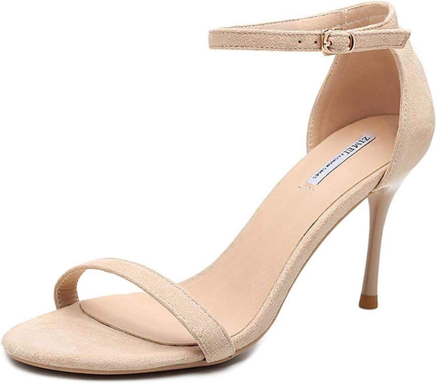 Top Shishang Apricot Button with high Heel Stiletto with Wild Open Toe Sandals