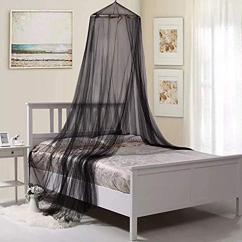 Moskitonetz Bett Doppelbett Aufhängen Moskitonetz für Babybett Einzelbett Schwarz Rund Mückennetz Bett für Zuhause, Garten, Balkon, Camping, 12,5 m x 2,6 m