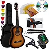 Pack Guitare Classique 4/4 (Adulte) 6 Accessoires Cour Vidéo et DVD (Sunburst)