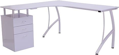 HOMCOM Mesa de PC Mesa de Ordenador Escritorio de Oficina Mesa con Cajonera para Hogar Escuela y Oficina 151.5x143.5x76cm Madera Blanco