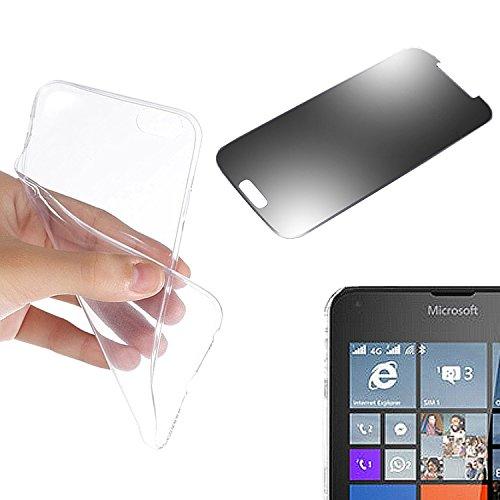 Eximmobile Silikon Hülle Schutzhülle Handytasche + Panzerfolie für Nokia Lumia 730 (transparent)