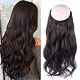 Sassina 9A Halo Hair Extensions Remy Human Hair with Invisible Miracle Wire, Fish Line Extensions Colored Chocolate Brown #3 16 Inch 100 Grams for Full Head