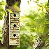 Glitzhome 17.95' H Wooden Three-Tier Hanging Distressed Garden Birdhouse