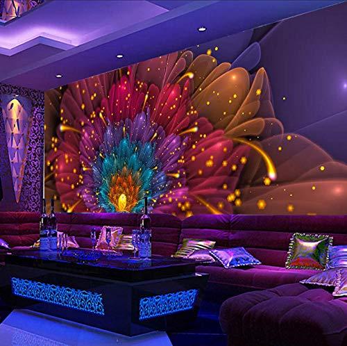 Afashiony 3D Wallpaper Cool Nachtclub Bar Ktv Blume Wohnzimmer Sofa Tv Tooling Wanddekoration Wandbild, Heimtextilien, Abnehmbare Wandbild-250Cmx175Cm