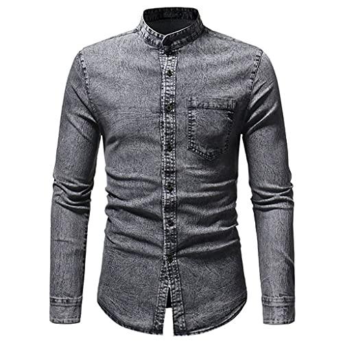 SLATIOM Primavera otoño hombres camisa delgada de mezclilla suave 100% algodón delgado ligero elástico de...