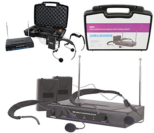 RadioMicrofoni QTX Wireless Senza Fili: 2 x Microfono ad Archetto + 1 Ricevitore + Valigia