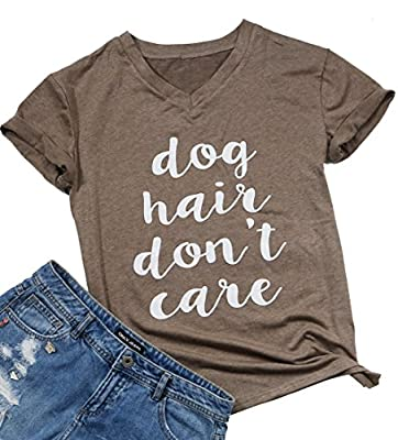 FAYALEQ Dog Hair Don't Care T-Shirt Women's V-Neck Casual Short Sleeve Tee Funny Tops