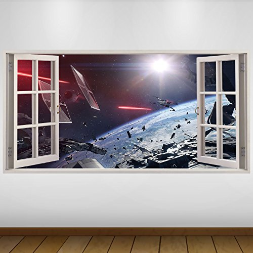 LagunaProject Extra Grande Azul Star Wars Batalla Espacial fantasía Vinilo 3D Póster - Mural Decoración - Etiqueta de la Pared -140cm x 70cm