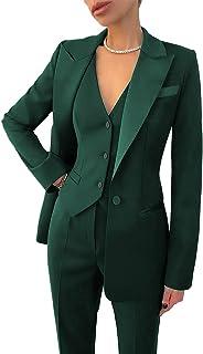 Womens Suits for Office Work 3 Pieces Set Notch Lapel Single Breasted Vest Lady Suits (Blazer+Vest+Pants)