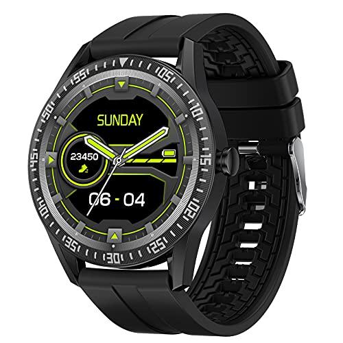 QFSLR Reloj Inteligente Smartwatch Deportivo con Llamada Bluetooth Monitor De Frecuencia Cardíaca Monitor De Presión Arterial Monitoreo De Oxígeno En Sangre Control De Música,Negro