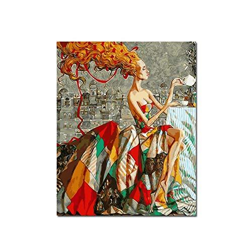 Porträts im skandinavischen Retro-Stil, Quadro-Leinwand, Ölgemälde, Poster, Cuadros, Wandgemälde, rahmenlose dekorative Gemälde im Wohnzimmer A92 30x40cm