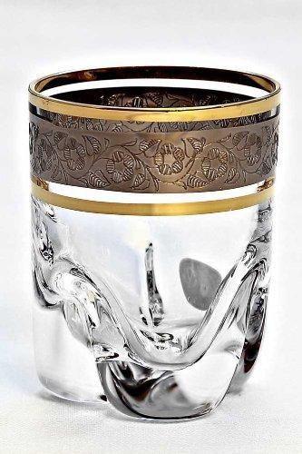Boheme Cristal Set 6 verres á Brandy, 280 ml avec bord doré, d'argent gravure