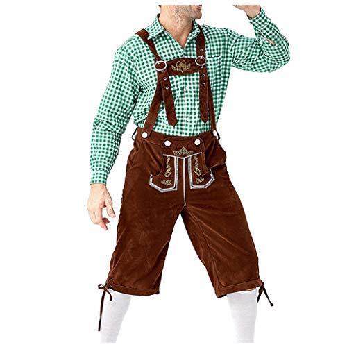 Allence Herren Oktoberfest Kostüm Beer Bavarian Lederhosen Kostüm Komplett-Set, Hosenträgern und Hut, Outfit mit Hemd,Kleidung für Fasching, Karneval, Party Oder Wiesn