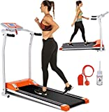 Electric Folding Treadmill for Home with LCD Monitor,Pulse Grip and Safe Key Fitness Motorized Running Jogging Walking Exercise Machine Space Saving for Home Gym Office Easy Assembly (Orange)