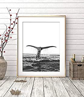 Arvier Whale Print Black and White Photography Wall Art Coastal Decor Beach Print Ocean Water Minimalist Poster Printable Framed Wall Art