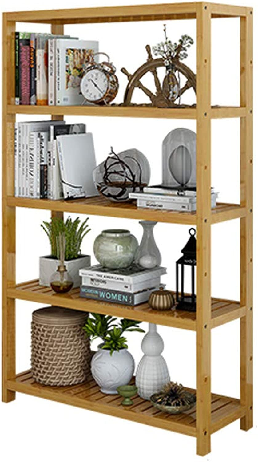 Solid Wood Bookshelf,Simple Floor-Standing Open Shelf Storage Rack Easy Assembly Multipurpose Display Rack for Home and Kitchen-B 52x29x130cm(20x11x51inch)