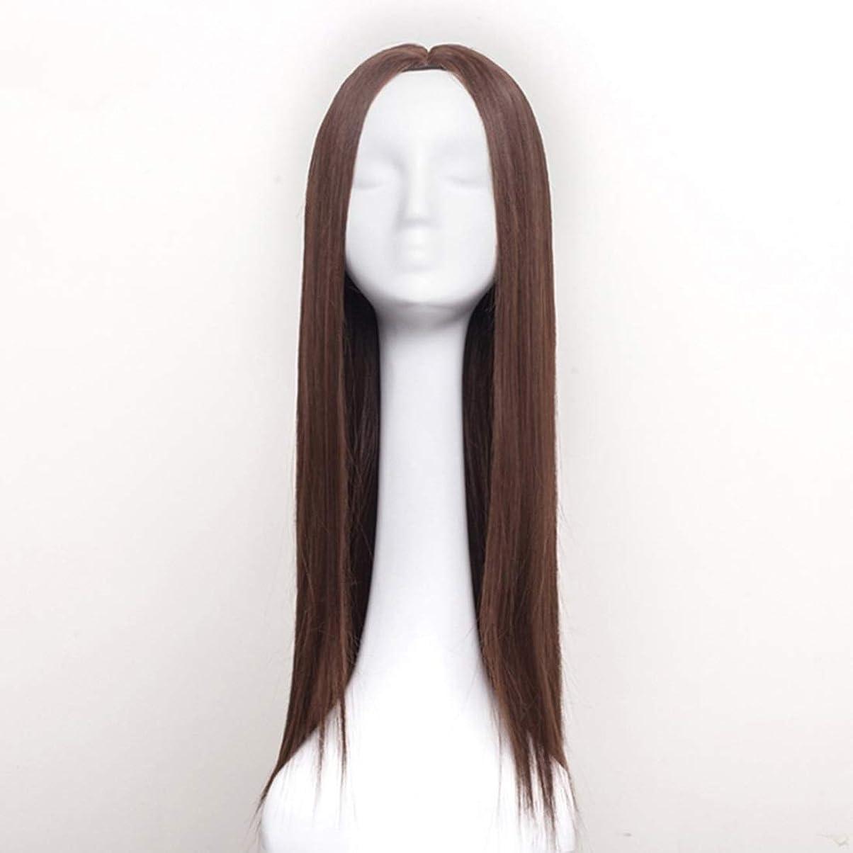 組み込むしょっぱい電極Summerys 女性のための合成かつら自然に見えるロングストレート波状なしレース耐熱交換かつら (Color : Light Brown)