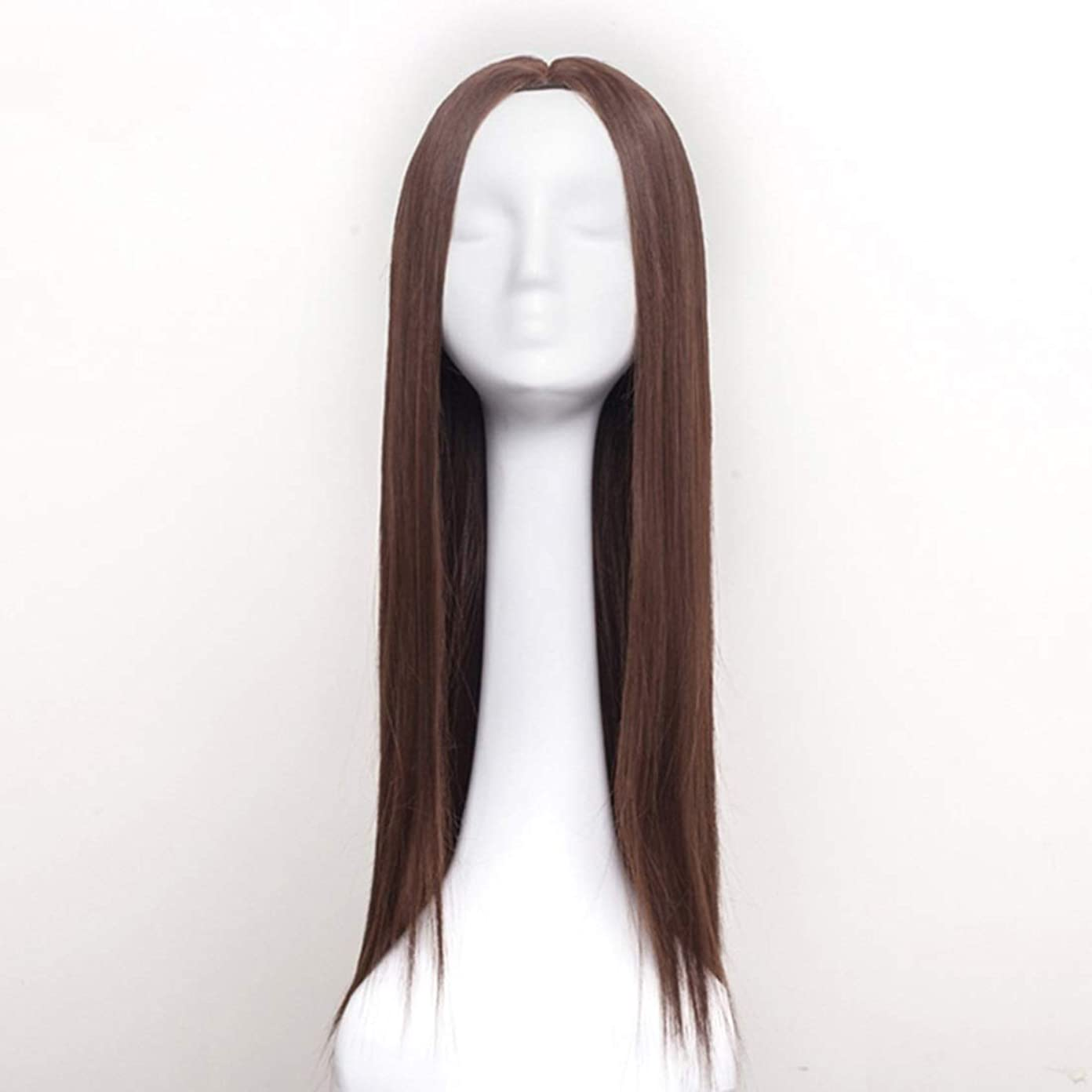 隔離彫刻家早めるSummerys 女性のための合成かつら自然に見えるロングストレート波状なしレース耐熱交換かつら (Color : Light Brown)