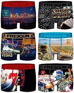 Freegun – Lote de 6 calzoncillos de fantasía para hombre de microfibra Confort y cinturón elástico – Colección Photo Série Vegas02 L