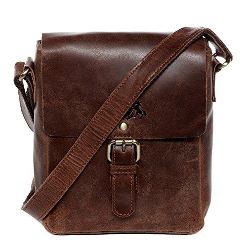 SID & VAIN Umhängetasche echt Leder Yale klein Messenger Bag iPad Schultertasche Ledertasche Unisex braun