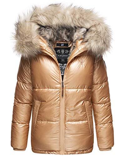 Navahoo Premium Damen Winter Jacke Parka Mantel Winterjacke warm Kunstfell B828 [B828-Tikun-Gold-Gr.M]