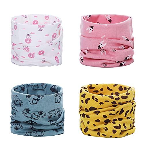 ANSUG 4 pezzi Sciarpa Scaldacollo in cotone, Multiuso Sciarpa Caldo Cappello del Cotone Sciarpa O-Scaldacollo Loop per Bambino Bebè Infanzia Bambini Neonati - 40 * 21 cm