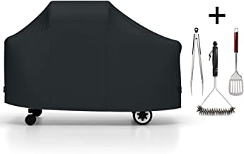 LuckIn 7552 Grill Cover for Weber Genesis Silver/Gold / 2000-5500 Gas Grills with Brush and Tongs