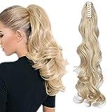 Ponytail Extension Pferdeschwanz Haarteil Haarverlängerung Zopf mit Butterfly-Klammer Hair Piece Haar Glatt Hitzebeständig wie Echthaar Golden Mix Bleichblond-1 Gewellt-24