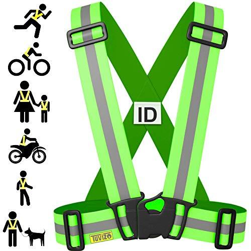 Tuvizo Warnweste Fahrrad - Reflektorband - komfortable Sicherheitweste für Laufen - Reflektoren für hohe Sicherheit und Visibilität - für Herren Damen Kinder (Gelb, S/M/L)