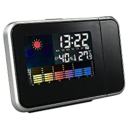 PIKAqiu33 LCD Projection Digital Weather Snooze Alarm Clock LED Backlight Color Display, Clock, for Xmas Day and New Year (Black)