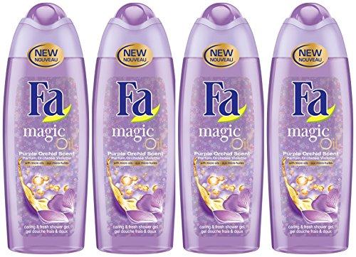 Fa - Gel Douche - Magic Oil Frais/Doux - Parfum Orchidée Violette - 250 ml - Lot de 4