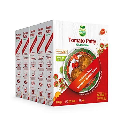 Veggie&Nature - Vegane Burger mit Tomate, glutenfreie Mischung, 120 g (5er-Packung)