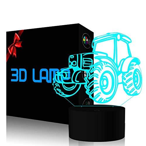 YKLWORLD 3D Illusion Lampe Traktor LED Nachtlicht Stimmungslicht 7 Farbwechsel Berührungsschalter mit USB Kabel Schlafzimmer Schreibtischlampe für Kinder Weihnachts Geburtstags Geschenk