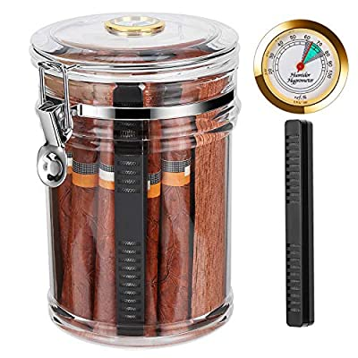 Fortune Nexus® Acrylic Cigar Humidor Jar with Humidifier and Hygrometer