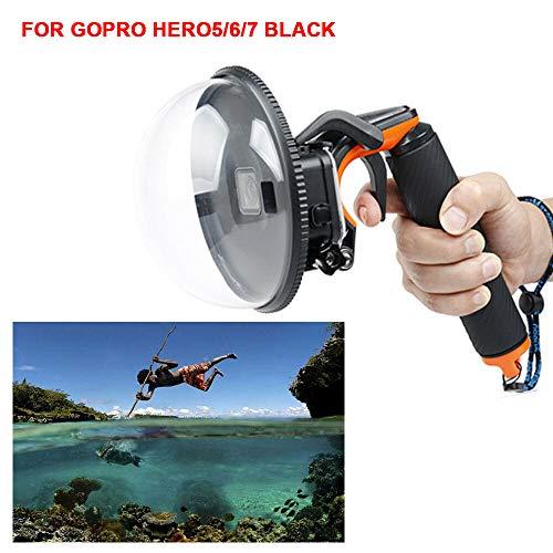 SHIOUCY para GoPro Dome Port, Carcasa Impermeable para Domo GoPro Hero 5/6/7, Carcasa Impermeable para Accesorios GoPro con Pistola de Disparo y fotografía submarina con Agarre Flotante.