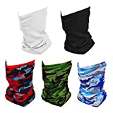 ZiegLad 5 Packs Summer Neck Gaiter Face Mask Cooling Bandana Mask for Men Women, Breathable Resuable Cloth Fishing Face Mask, UV Sun Protection Face Scarf Cover (3 Camo, 1 Black, 1 White)