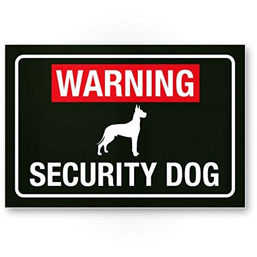 Warning Security Dog - Hunde Kunststoff Schild, Hinweisschild Tor/Zaun - Türschild Haustüre, Warnschild Abschreckung, Sicherheit/Einbruchschutz - Vorsicht/Achtung Hund