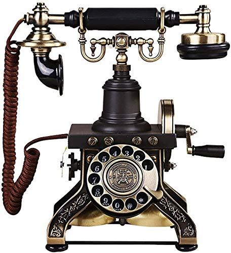 ZOUSHUAIDEDIAN Retro teléfono rotatorio de la Vendimia marcar Placa Antigua teléfonos de Escritorio FSK/DTMF Teléfono con Cable for la Sala de Estar Ministerio del Interior de la decoración, Regalo